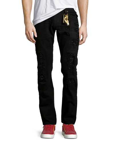 Distressed Slim-Straight Jeans w/Holes, Black