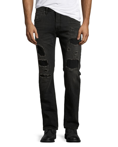 Mr. 87 Slim-Fit Destroyed Jeans, Black