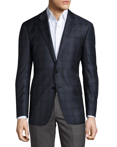 Plaid Two-Button Sport Coat, Bright Blue/Navy