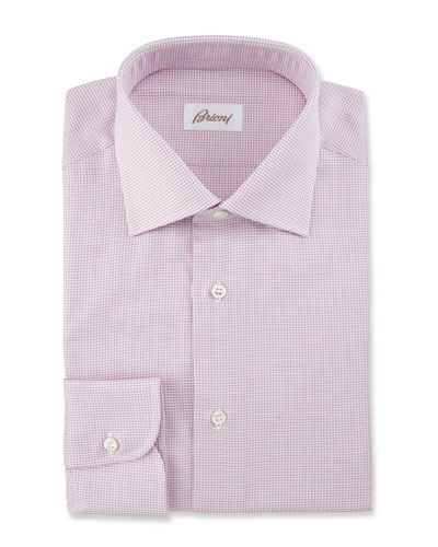 Textured Grid Dress Shirt, Pink
