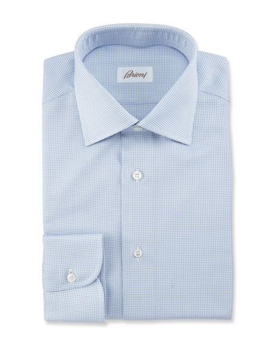 Textured Grid Dress Shirt, Blue