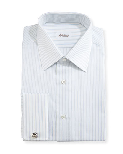 Satin-Stripe Dress Shirt, White/Light Blue