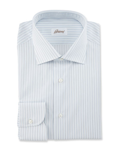 Striped Dress Shirt, White/Blue/Gray
