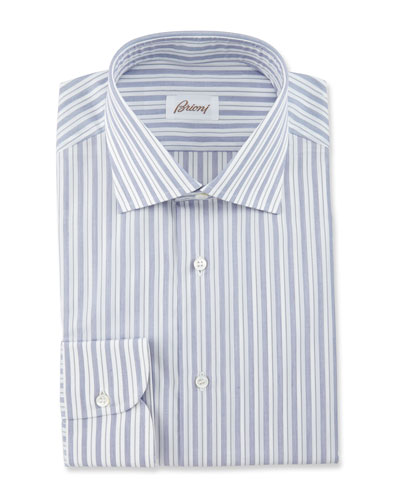Bold-Stripe Dress Shirt, Navy/White