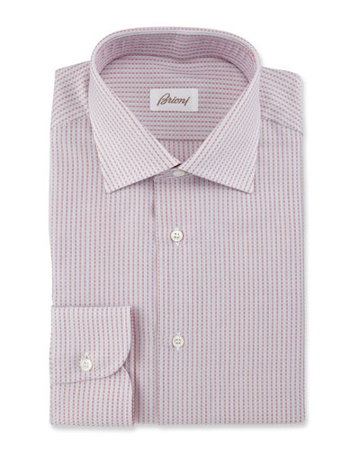 Textured-Stripe Dress Shirt, Red/White