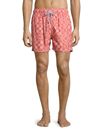 Guillauche Flop Printed Swim Trunks, Red