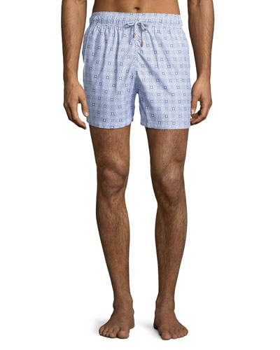 Guillauche Vintage Printed Swim Trunks, Blue