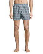 Psychedelic Robotics Printed Swim Trunks, Multicolor Pattern