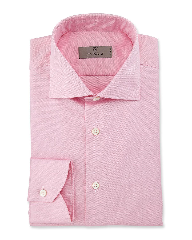 Modern Fit Solid Dress Shirt, Pink