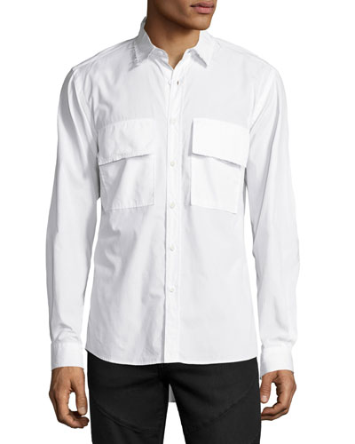 Raw-Edge Button-Front Shirt, White