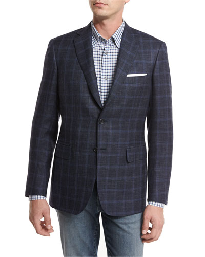 Heathered Windowpane Check Two-Button Sport Coat
