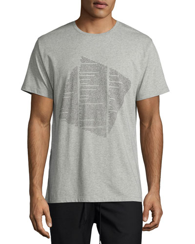 Text-Print Graphic T-Shirt, Light Gray