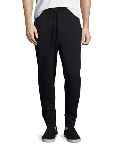 Twill Ponte Double-Waist Jogger Pants, Black