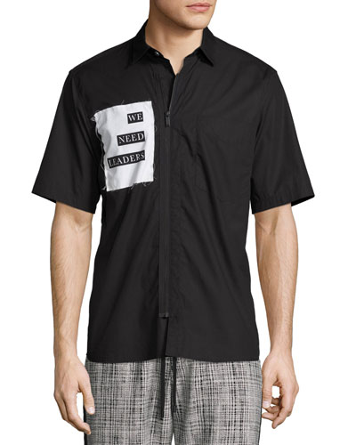 We Need Leaders Short-Sleeve Zip-Front Shirt, Black