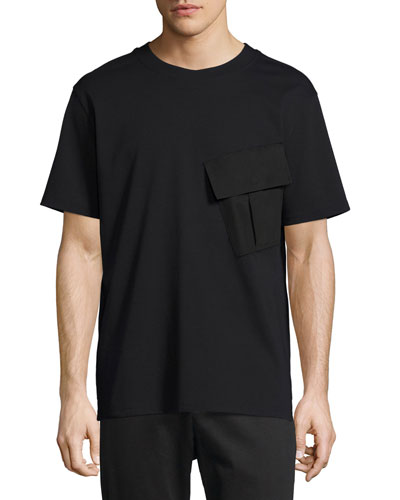 Twill Ponte Flap-Pocket T-Shirt, Black