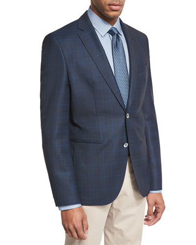 Windowpane-Check Wool Sport Coat, Navy/Teal