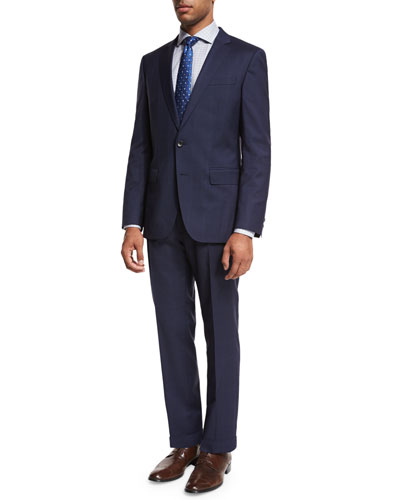 Tonal Windowpane-Check Two-Piece Suit, Navy
