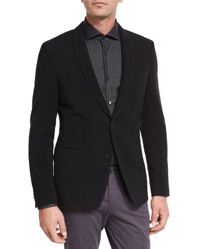 Ottoman Jersey Shawl-Collar Blazer, Black