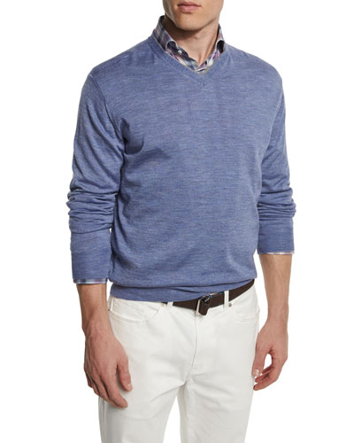 Wool-Blend V-Neck Sweater, Purple