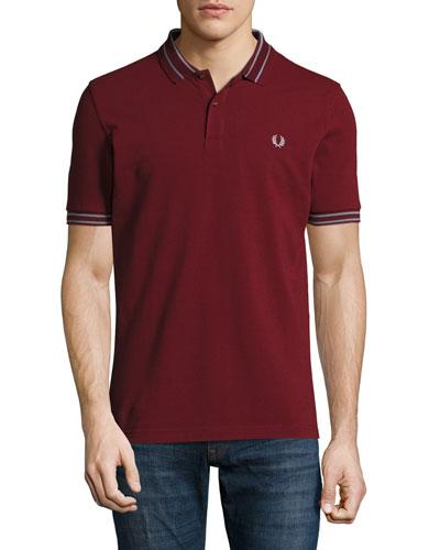 Tramline Tipped Piqué Polo Shirt, Rosewood