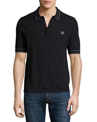 Tramline Tipped Piqué Polo Shirt, Navy