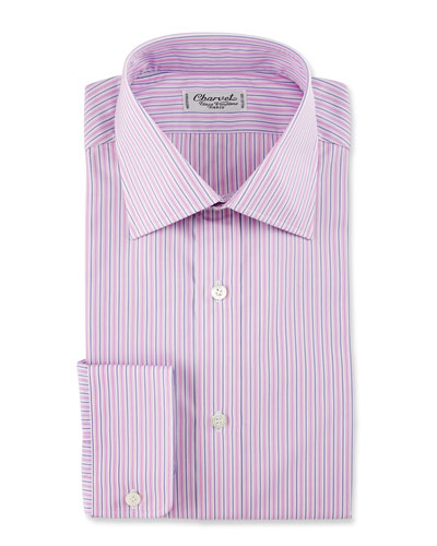 Striped Cotton Dress Shirt, Pink/Purple