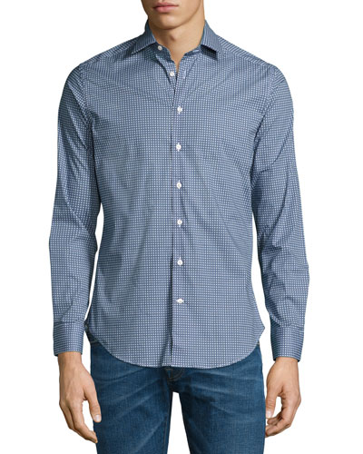 Micro-Geo Printed Sport Shirt, Light Blue