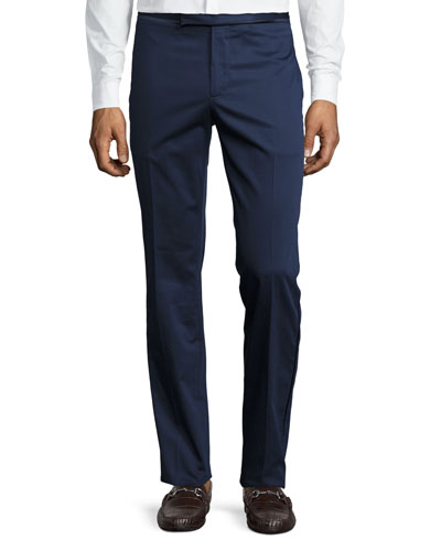 Satin-Trim Flat-Front Trousers, Navy