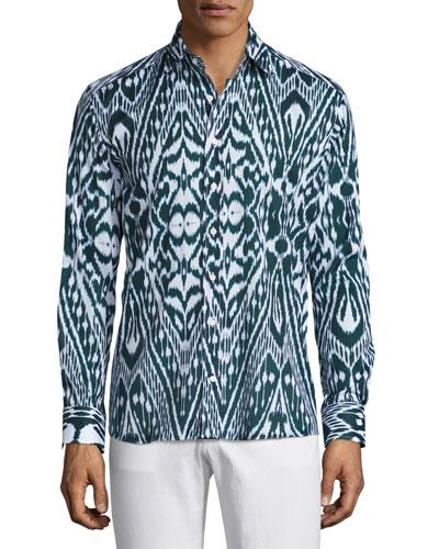 Ikat Print Sport Shirt, Navy Blue/White