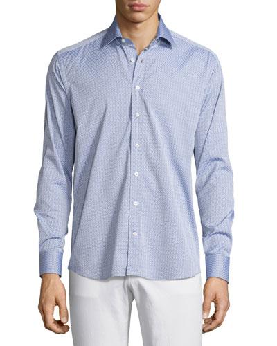 Pinwheel Jacquard Sport Shirt, Light Blue
