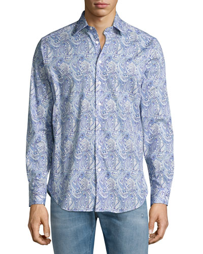 Allover Paisley Printed Sport Shirt, Blue