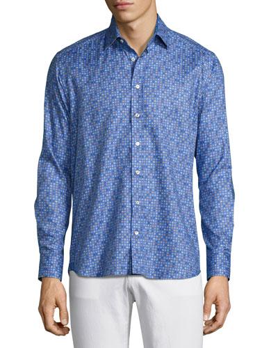 Paisley Dot-Print Sport Shirt, Light Blue