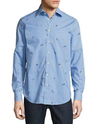 Sea Creature Gingham Sport Shirt, Blue