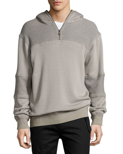 Textured Half-Zip Pullover Sweatshirt, Gray
