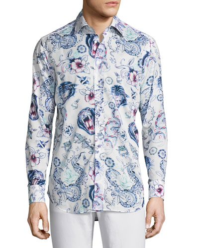 Tattoo-Print Sport Shirt, Multicolor