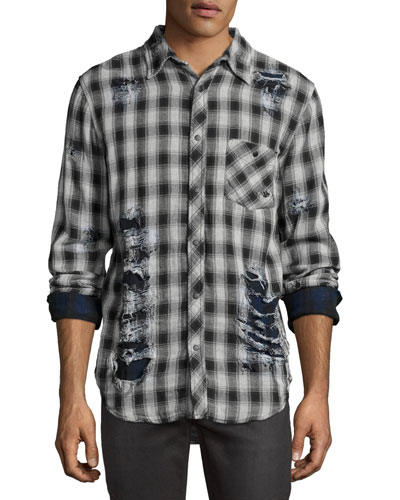 Weston Plaid Distressed Shirt, White/Black