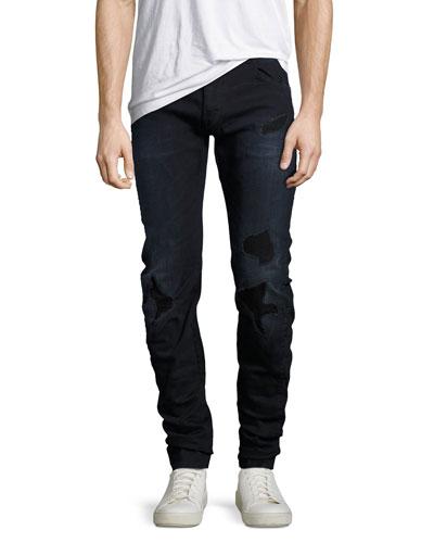 Arc 3D Distressed Slim Jeans, Black