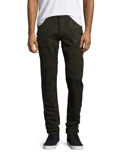 Broderick Slouchy Skinny Jeans, Olive Camo