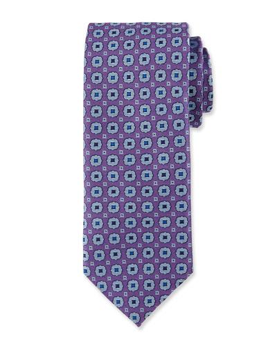 Woven Medallion Silk Tie, Purple