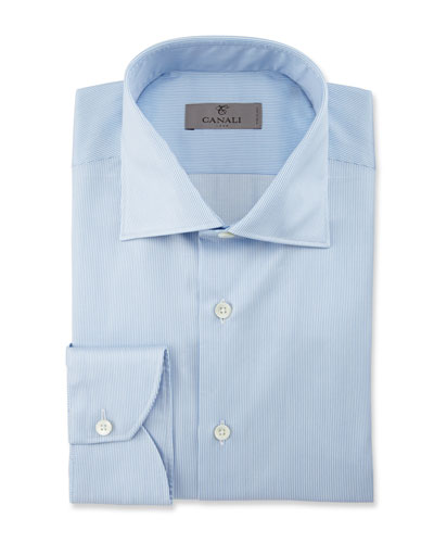 Fine-Line Dress Shirt, Blue/White
