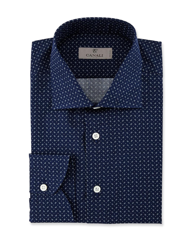 Modern Fit Pine-Print Dress Shirt, Navy