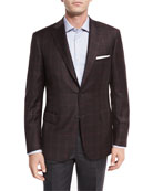 Plaid Two-Button Sport Coat, Burgundy/Charcoal
