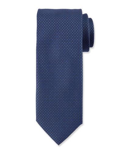 Micro-Neat Silk Tie, Navy