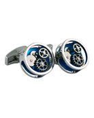Rhodium-Plated Gear Cuff Links, Blue