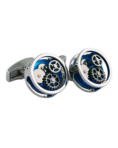 Rhodium-Plated Gear Cuff Links, Blue