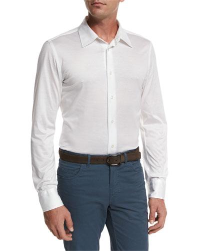 Knit Button-Front Shirt, White
