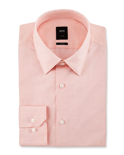 Tailored Slim-Fit Dress Shirt, Light Orange