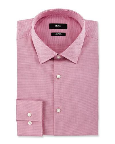 Slim-Fit Easy-Iron Mini-Check Dress Shirt, Pink