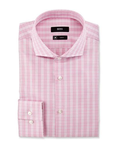 Active Traveler Slim-Fit Plaid Dress Shirt, Pink