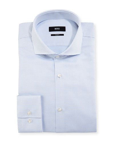 Micro-Check Slim-Fit Dress Shirt, Light Blue